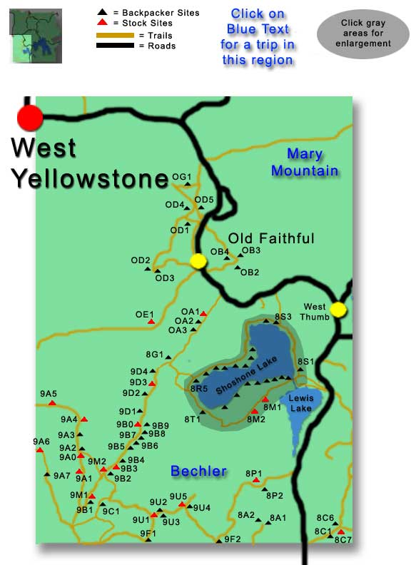Yellowstone Southwest Campsites Map